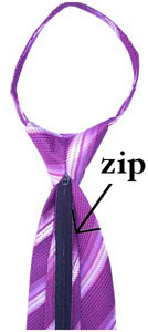 The zipper of a zip tie is at the back of the tie.